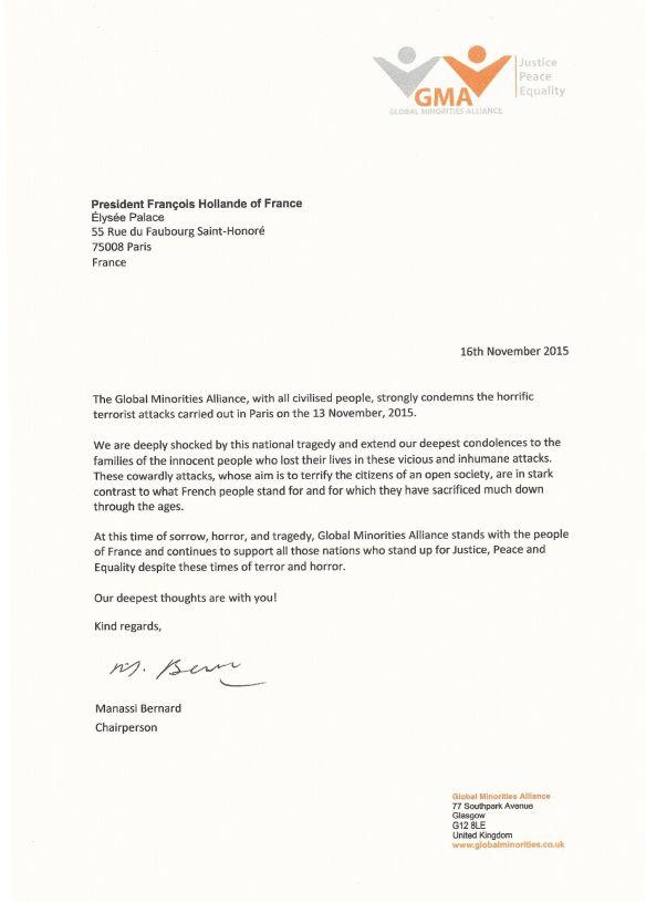 Letter to President