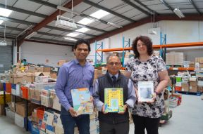 Shahid Khan, Vinay Ruparelia (Books Abroad) and Rebecca Gebauer